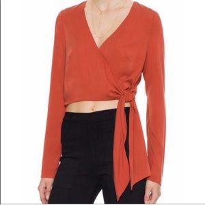 Intermix Fall Burnt Orange Wrap Top